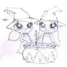 Coloriage d'Halloween : Coloriage des sorcières jumelles