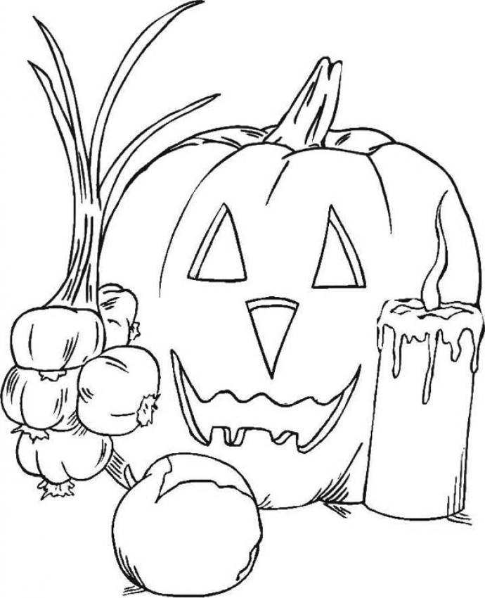 Coloriage d'Halloween : Coloriage des symboles d'Halloween