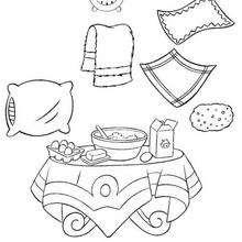 Coloriage du lever et petit dejeuner - Coloriage - Coloriage OUI-OUI - Coloriage ACCESSOIRES DE OUI-OUI