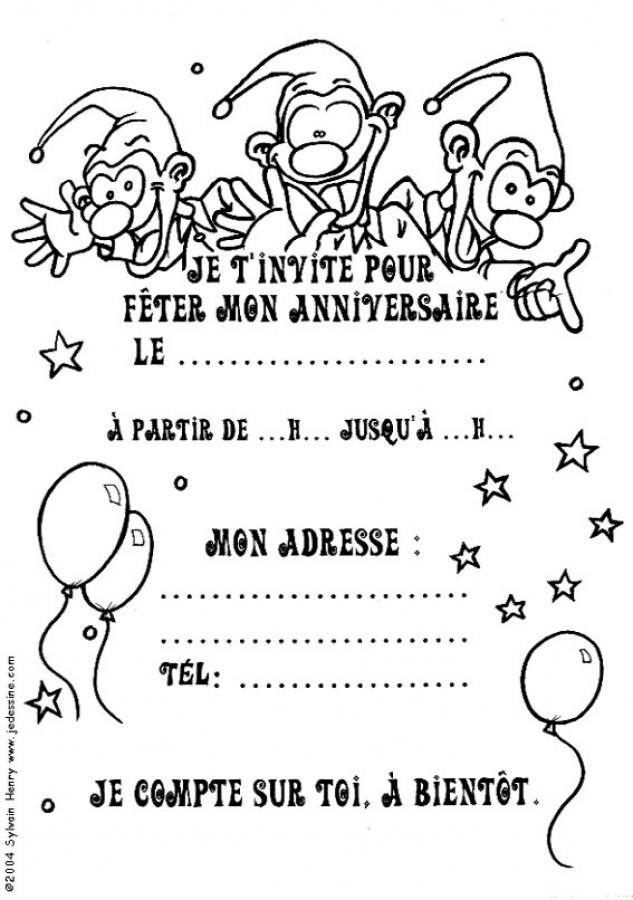 Coloriages invitation avec des lutins - Carte anniversaire a colorier a imprimer ...