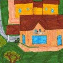 Dessin d'enfant : Ma maison en Suisse