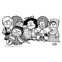 Coloriage de Mafalda et les enfants du Monde entier - Coloriage - Coloriage PERSONNAGE BD - Coloriage MAFALDA - Coloriage MAFALDA A IMPRIMER