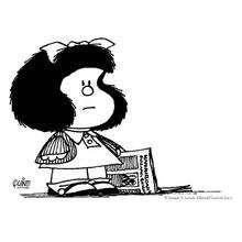 Coloriage de Mafalda qui lit le journal - Coloriage - Coloriage PERSONNAGE BD - Coloriage MAFALDA - Coloriage MAFALDA A IMPRIMER