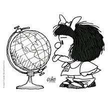 Coloriage de Mafalda tirant la langue - Coloriage - Coloriage PERSONNAGE BD - Coloriage MAFALDA - Coloriages MAFALDA