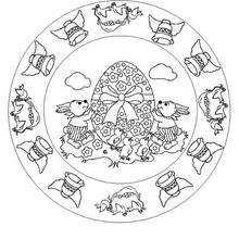 Coloriage de Mandala Cloches de Pâques