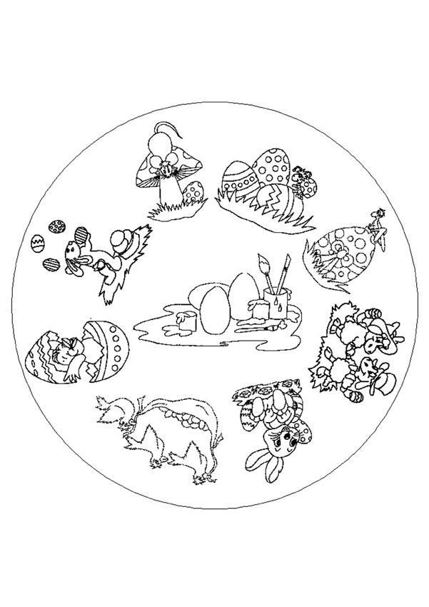 Coloriages coloriage de mandala lapin de pâques - fr.hellokids.com