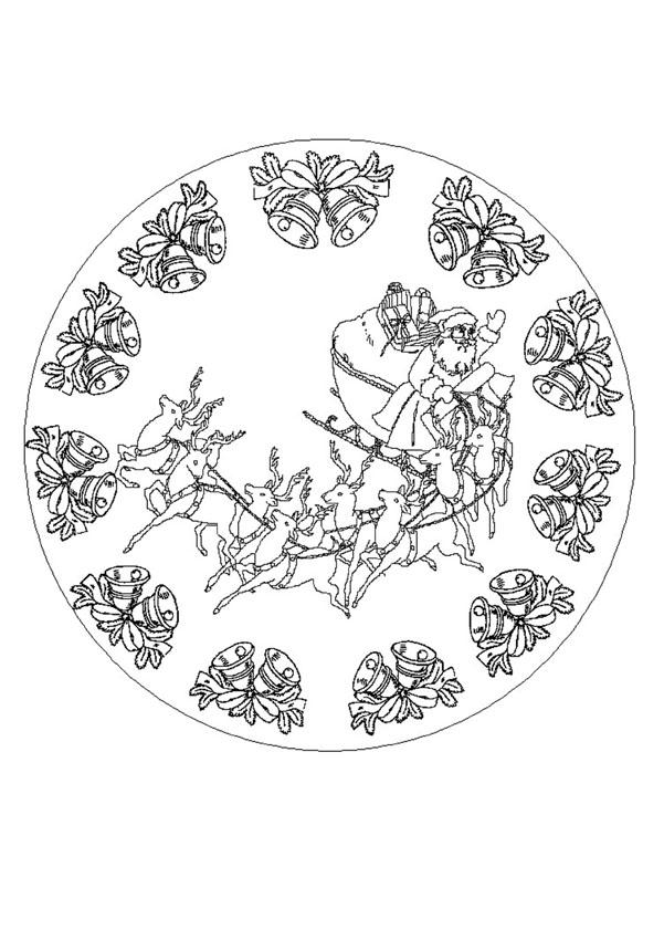 Coloriages mandala du p re no l colorier - Coloriage mandala de noel ...