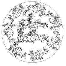 Coloriage de Mandala Citrouille