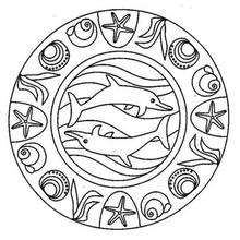 Coloriage d'un Mandala dauphin