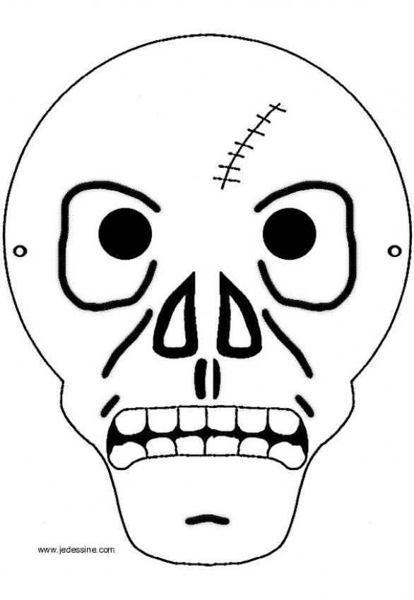 Coloriage d'Halloween : Coloriage d'un masque de squelette