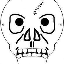 Coloriage d'un masque de squelette - Coloriage - Coloriage FETES - Coloriage HALLOWEEN - Coloriage SQUELETTE HALLOWEEN