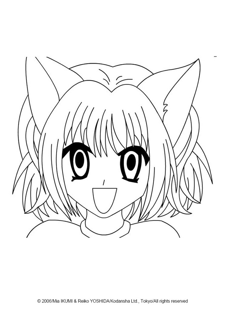 Coloriage d un portrait des Mew Mew Power