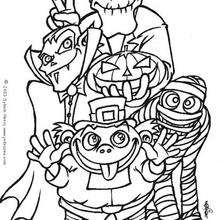 Coloriage de monstres d'halloween - Coloriage - Coloriage FETES - Coloriage HALLOWEEN - Coloriage MONSTRE HALLOWEEN