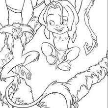 Coloriage Disney : Tarzan joue avec les singes