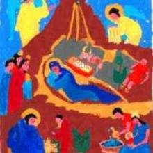 Dessin d'enfant : Nativité (par Marie)