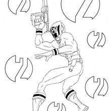 Coloriage Power Rangers : Ranger avec son pistolet laser