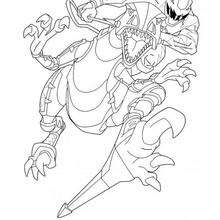 Coloriage de Ninja et le dino - Coloriage - Coloriage DESSINS ANIMES - Coloriage POWER RANGERS - Coloriage NINJA POWER RANGERS