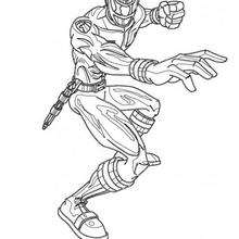 Coloriage d'un ninja en position de combat - Coloriage - Coloriage DESSINS ANIMES - Coloriage POWER RANGERS - Coloriage NINJA POWER RANGERS