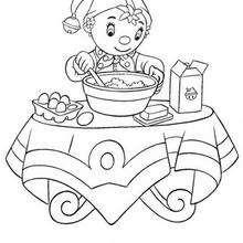 Coloriage de Oui-Oui qui cuisine - Coloriage - Coloriage OUI-OUI - Colorier le personnage de OUI-OUI