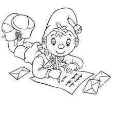 Coloriage de Oui-Oui qui écrit une lettre - Coloriage - Coloriage OUI-OUI - Colorier le personnage de OUI-OUI
