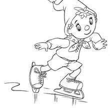 Coloriage de Oui-Oui et le patinage - Coloriage - Coloriage OUI-OUI - Coloriage OUI-OUI FAIT DU SPORT