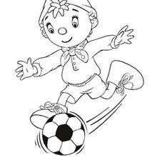 Coloriage de Oui-Oui qui joue au football - Coloriage - Coloriage OUI-OUI - Coloriage OUI-OUI FAIT DU SPORT