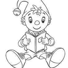 Coloriage de Oui-Oui qui lit un livre - Coloriage - Coloriage OUI-OUI - Colorier le personnage de OUI-OUI