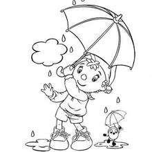 Coloriage de Oui-Oui sous son parapluie - Coloriage - Coloriage OUI-OUI - Coloriage OUI-OUI ET LES QUATRE SAISONS