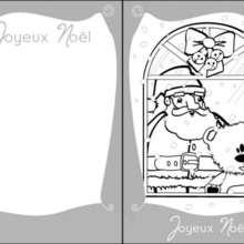 Coloriage Carte de Voeux du Père-Noël à la fenêtre - Coloriage - Coloriage FETES - Coloriage NOEL - Coloriage CARTES DE VOEUX NOEL - Coloriage CARTE DE VOEUX NOEL GRATUIT