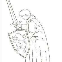 Coloriage : L'épée et le bouclier de Peter