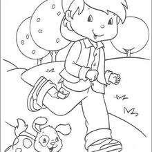 Coloriage du petit garçon avec son chien - Coloriage - Coloriage PERSONNAGE BD - Coloriage CHARLOTTE AUX FRAISES - Coloriage CHARLOTTE AUX FRAISES GRATUIT
