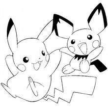 Coloriage : Pikachu et Pichu