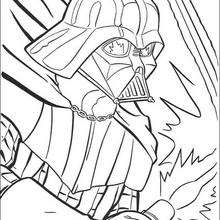 Coloriage STAR WARS du portrait de Dark Vador
