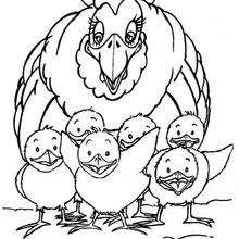 Coloriage : Les poussins et maman poule