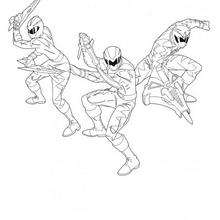 Coloriage des Power Rangers au combat - Coloriage - Coloriage DESSINS ANIMES - Coloriage POWER RANGERS - Coloriages POWER RANGERS