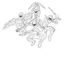 Coloriage des Power Rangers en cercle - Coloriage - Coloriage DESSINS ANIMES - Coloriage POWER RANGERS - Coloriages POWER RANGERS