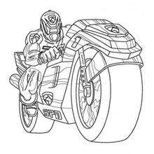 Coloriage d'un Power Rangers en moto
