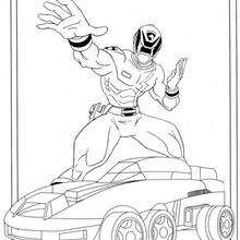 Coloriage de Power Rangers sur une voiture - Coloriage - Coloriage DESSINS ANIMES - Coloriage POWER RANGERS - Coloriages POWER RANGERS