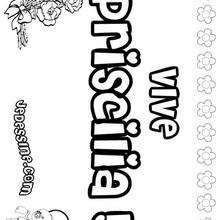 Priscilia - Coloriage - Coloriage PRENOMS - Coloriage PRENOMS LETTRE P