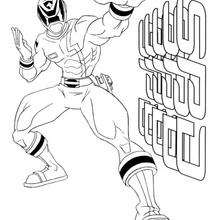 Coloriage Power Rangers : Ranger en position de combat