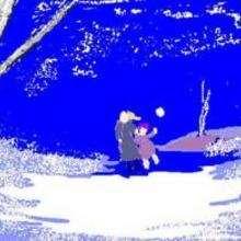 Dessin d'enfant : Promenade en hiver