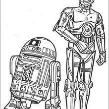 Coloriage STAR WARS de R2-D2 et C-3PO