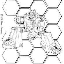 Coloriage Power Rangers : MEAGZORD en position de combat