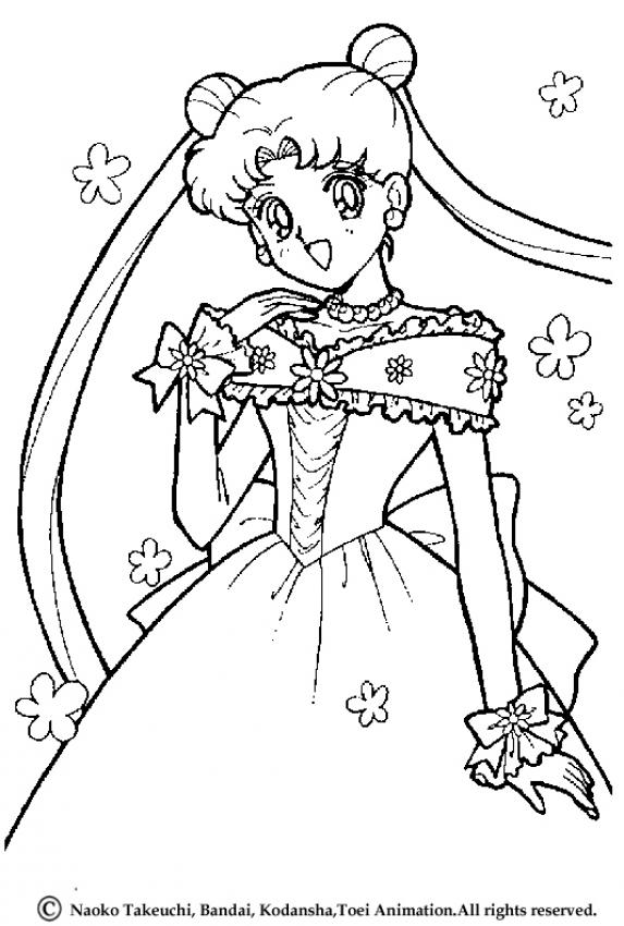 Coloriage de Sailor Moon en robe de mariée