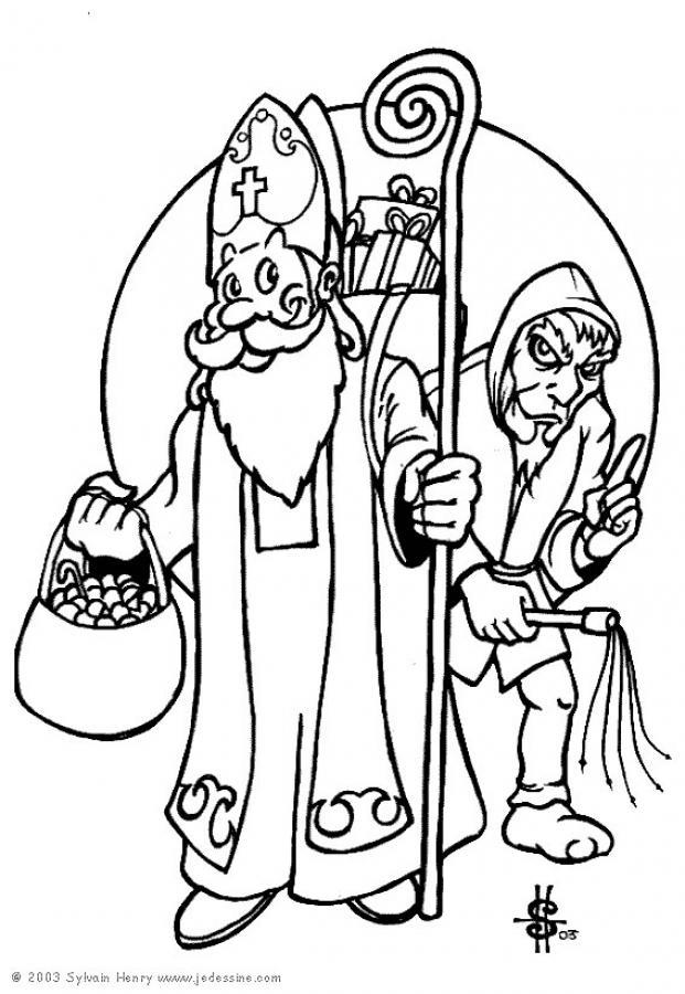Coloriages Coloriage De Saint Nicolas Et Du Pere Fouettard Fr Hellokids Com