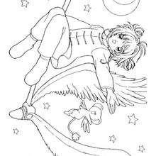 Coloriage de Sakura dans les étoiles