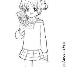 Coloriage de Sakura et la carte magique - Coloriage - Coloriage MANGA - Coloriage de SAKURA