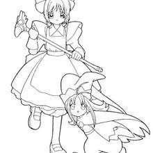 Coloriage de Sakura et la petite fille - Coloriage - Coloriage MANGA - Coloriage de SAKURA
