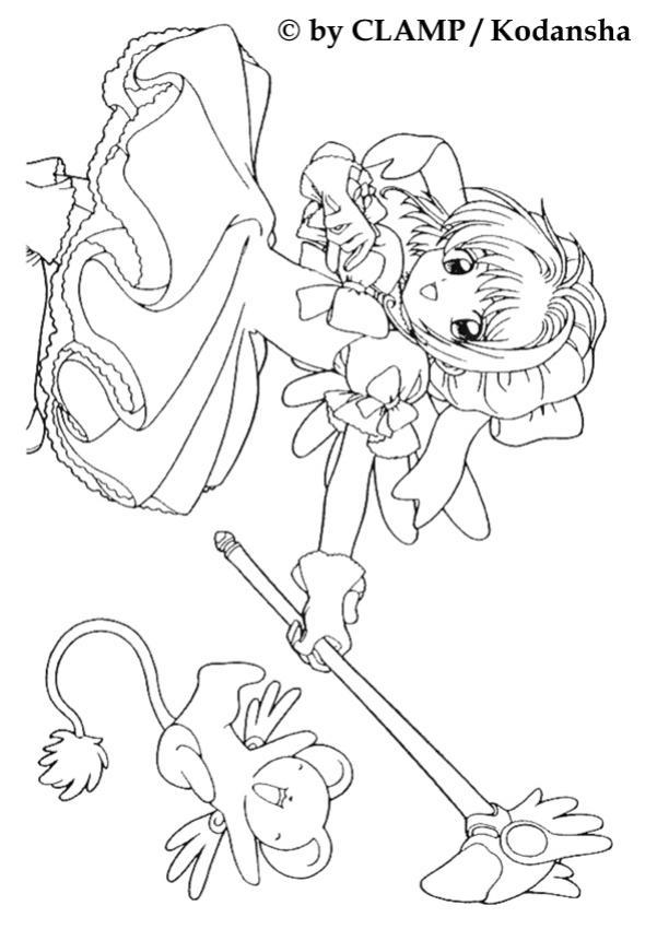 Coloriages coloriage de sakura et le gardien des cartes - Coloriage manga a colorier ...