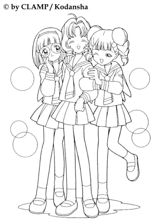 Coloriage de Sakura et ses copines